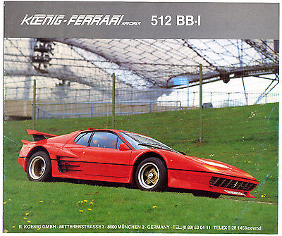 Koenig-Ferrari 512 BB-i brochure Prospekt (early 1980s)