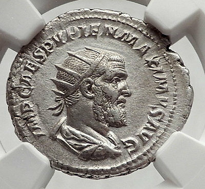 PUPIENUS 238AD Rome RARE Authentic Ancient Silver Roman Coin HANDS NGC i63346