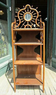 Victorian Oak Stick And Ball Book Sheet Music Stand W Beveled Mirror