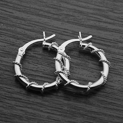 Genuine Sterling Silver Twisted Wire Wrapped Creole Hoop Sleeper Earrings 18mm