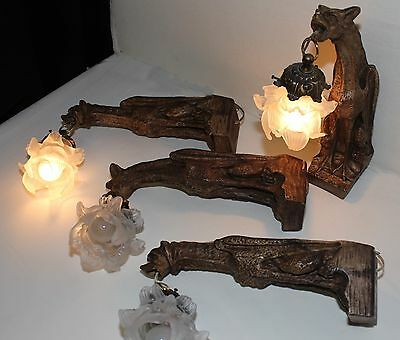2 pairs antique French Gargoyles sconces with shades