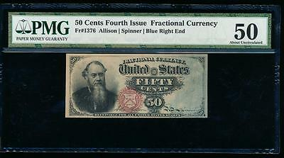 AC Fr 1376 $0.50 1869 fractional fourth issue PMG 50 comment Stanton rainbow