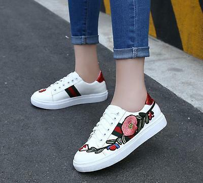 Flat Heels Womens Embroidered Flower Round Toe White Lace Up Shoes Sneakers J912