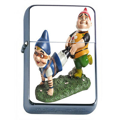 Gnomes D8 Windproof Dual Flame Torch Lighter Refillable Folklore Garden Statue
