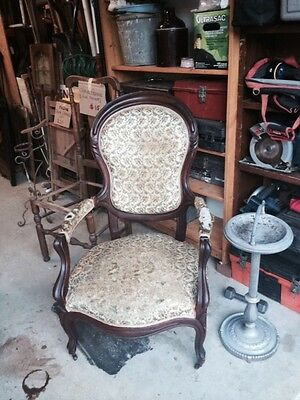 ANTIQUE - Rosewood / MAHOGANY Victorian Slipper Chair Reupholster or use a Throw