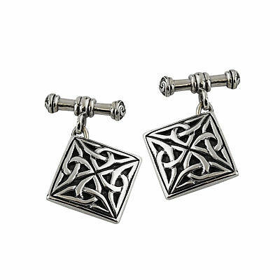 Square Celtic Cufflinks with Chain - 925 Sterling Silver - Trinity Knot Mens NEW
