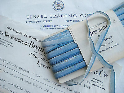 """3Yds Vintage French Blue Ombre Rayon Ribbon Ribbonwork Flowers  1/4"""""""