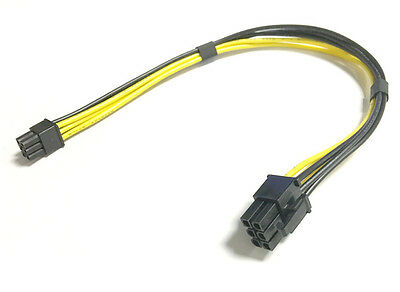 Mini 6 Pin Male To PCI-E 6 Pin Male Power Extension Cable Video Card 18AWG