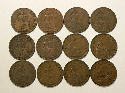 Great Britain, Lot Of 12, Half 1/2 Penny Coins 1919 to 1937  #G6704