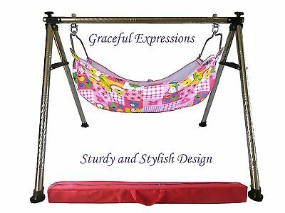 "Pink Newborn Baby Nursery Cradle Swing Ghodiyu -13.5"" Depth Hammock-Quick Set-Up"
