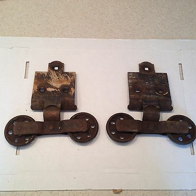 Vintage Pair Barn Door Rollers Hanger Wheels Large Set