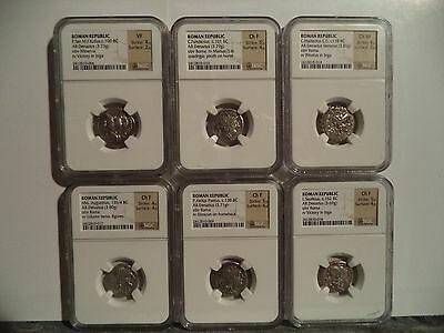 Ancient Silver Roman Republic Coins 152 BC to 100 BC Lot of 6 NGC Graded CH F-VF