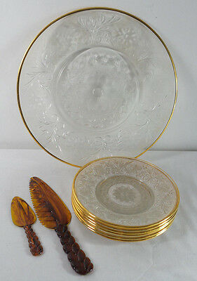Vintage 1940's Gold Trim Cut Glass Platter & Dessert Plates Lucite Servers