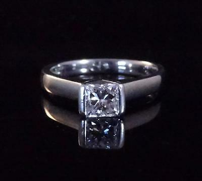 Solid 18ct White Gold .42 Carat Solitaire Princess Diamond Ring - With Valuation