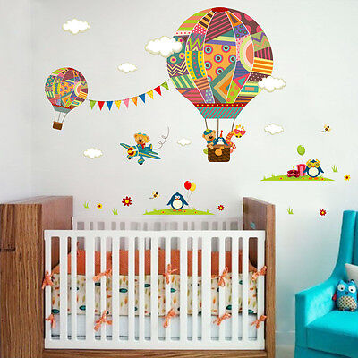 Hot Air Balloon Bear Cute Penguin Animals  Wall Stickers Removable Kids Nursery