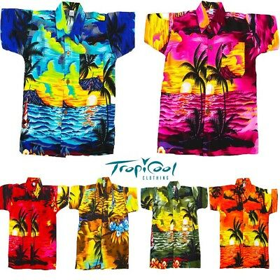 Kids Girls Boys Casual Hawaiian Shirts Rayon Holiday Fancy Dress