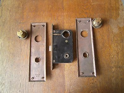 Antique Large Door Lock With Brass Plates & Russwin Mortised Lock