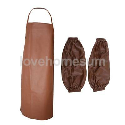 Waterproof PU Apron Home Kitchen Cooking Apron Dress with Sleeves Cuff Brown