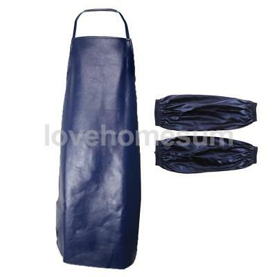 Waterproof PU Apron Home Kitchen Cooking Apron Dress with Sleeves Cuff Navy