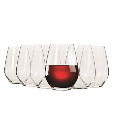 Krosno Vinoteca Gift Boxed Set of 6 x 540ml Stemless Red Wine Glasses Brand New