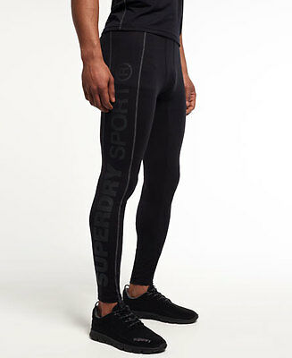 Superdry Men Gym Sport Runner Pants Tights Black Medium Compression Like