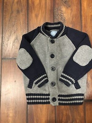 BabyGap toddler boys blue/gray knit cardigan button sweater size 2T, GUC.