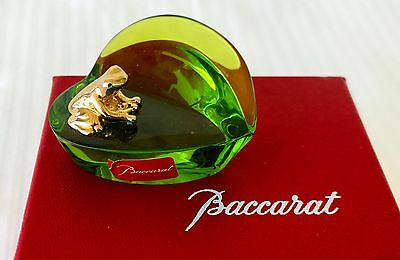 RARE Baccarat Of France Retired Gold 'Froggy' On A Leaf Figurine With Box!