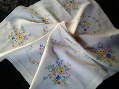 "Gorgeous Flower Posies & Swags ~ Vintage Hand Embroidered Tablecloth 34""X35"""