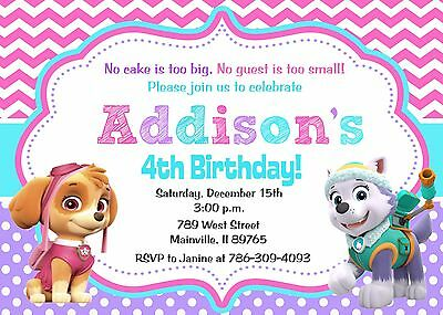 Paw Patrol Girl Invites And Thank Yous 8 Birthday Party