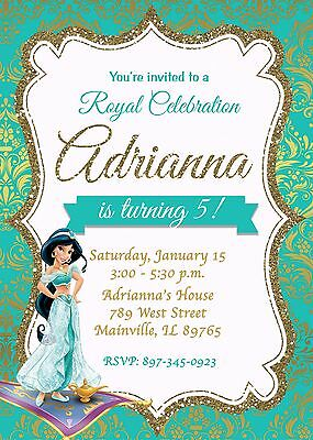 PRINCESS JASMINE ALADDIN Invitations party favors Arabian nights
