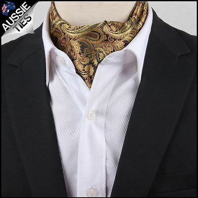 Men's Black & Gold Paisley Ascot Cravat