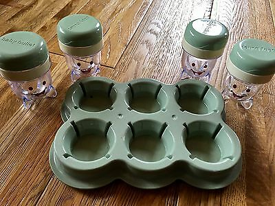 Baby Bullet food storage system with Date Bands Storage Cups and Tray