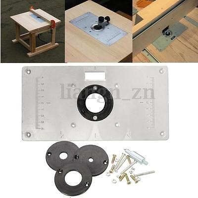 AU 235x120x8mm Aluminum Router Table Insert Plate 4 Insert Ring Woodwork Craft