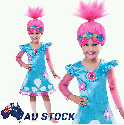 Trolls Poppy Troll Doll Dress Cosplay Costume Princess Girls Fancy Outfit 4-12 Y