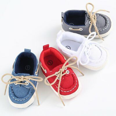 Infant Newborn Baby Boy Girl Soft Sole Canvas Pram Shoes Trainers 0-12 Months