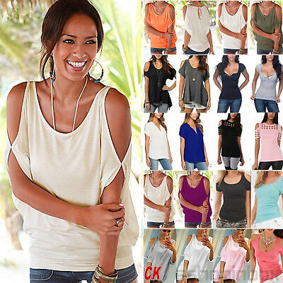 Plus Size Womens Off Shoulder Loose T-Shirt Ladies Summer Casual Tops Blouse Tee