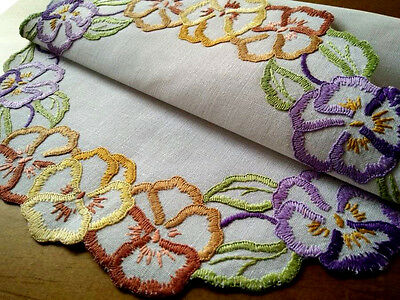 Sweet Coloured Pansies ~ Hand embroidered & Cut-work Centrepiece