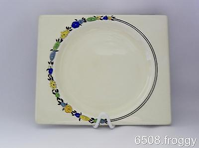 Early *Biarritz* Bizarre CLARICE CLIFF - Handpainted Square BLUE WREATH plate!