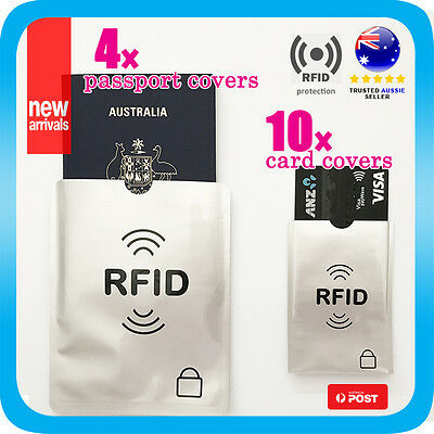 RFID Blocking Cover 4x Passport +10x Credit Card Protector Sleeve Shield Holder