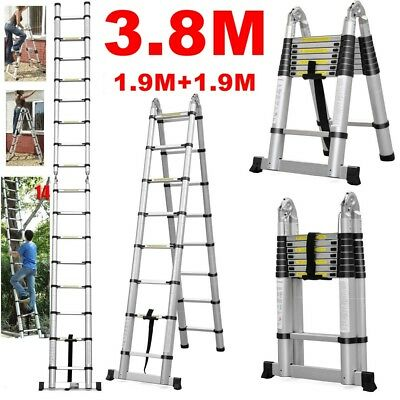 3.8M Multi-Purpose Aluminium Foldable Telescopic Ladder Extension Extendable New