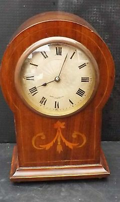 bracket clock Edwardian mahogany with inlay cased with 8 day mechanical movement