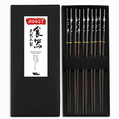 Japanese Chopsticks Solid Wood Sticks Set Flatware Flower Gift Dinnerware