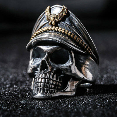 Men Army Officer Eagle Cap Skull Wide Band Finger Ring Vintage Jewelry Gift Wort
