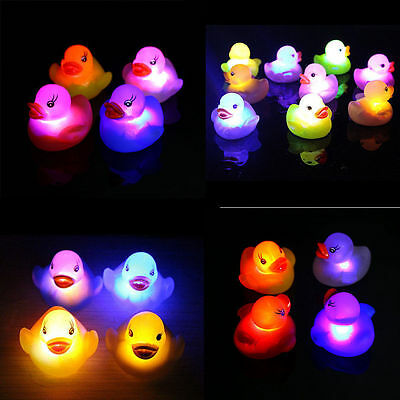 Funny Colorful Waterproof Bathroom Floating Duck LED Light Toys Kids Bath Toys