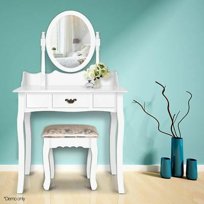 Single Drawer Dressing Table with Mirror White WH