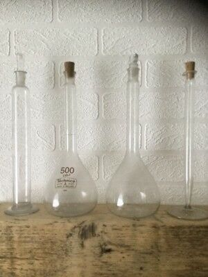 Vintage Science Lab Glass Flat Bottom Flasks And Measures With Caps Free Uk P&p
