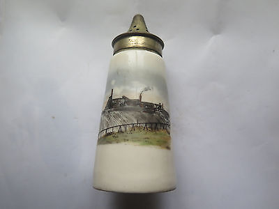 HAND PAINTED MINING COMPLEX SOUVENIR CHINA SUGAR SIFTER c1920s