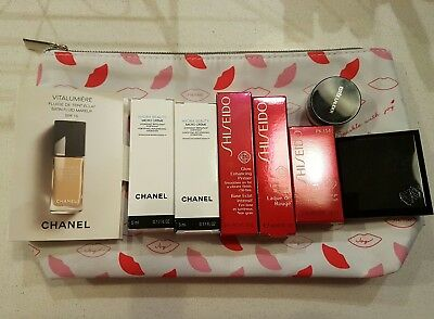 New Shiseido, Chanel, Estee Lauder  Make Up Skin Care Samples + Cosmetic  Bag