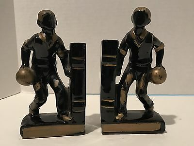 Vintage Rugby Player Mid Century 1950's Redware Japan Black and Gold Bookends • $5.99