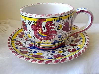 Italy Deruta Cocktail Rooster Cup and Saucer